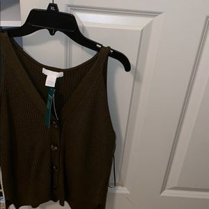 Army green shirt with buttons, never worn.
